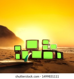 TVs on the beach with green screens with a sunset sky