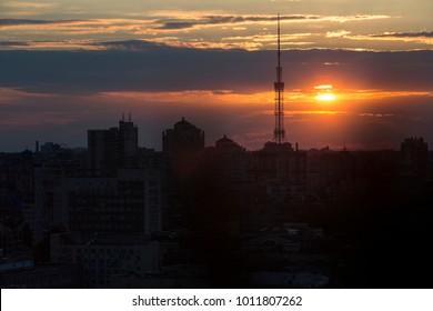 TV-Tower in Kiev on sunset sky background