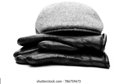 Tweed cap leather gloves