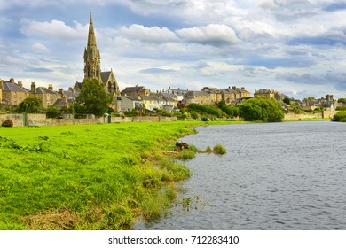 Tweed River and Kelso's panorama. Kelso is a market town in the Scottish Borders area of Scotland. UK