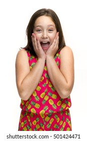 A tween girl with a surprised expression.
