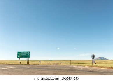 TWEESPRUIT, SOUTH AFRICA - MARCH 12, 2018: A directional road sign at the junction between the N8-road and the Thaba Phatswa road at Tweespruit, a small town in the Free State Province of South Africa