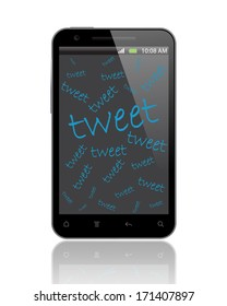 tweet with smartphone on white background
