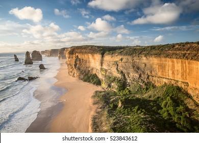Twelve (12) apostles scenic coastal view of sandstone rocks with pacific ocean in Victoria, Australia
