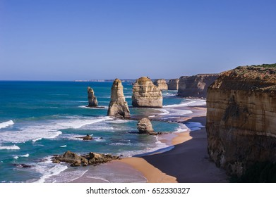 Twelve Apostles with blue sky background. Twelve Apostles is the one of the most beautiful cliff and sea view along the great ocean road,Victoria Australia