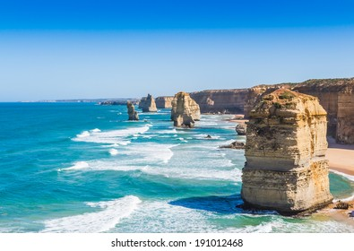 The twelve apostles with blue sky on the great ocean road in Victoria Australia