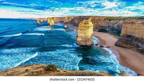 The Twelve Apostles at dawn, Australia.