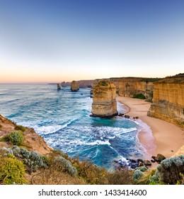 Twelve Apostles, Great Ocean Road, Victoria, Australia, at sunrise.
