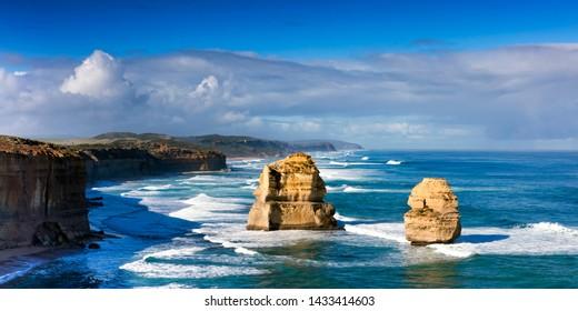 Twelve Apostles, Great Ocean Road, Victoria, Australia.  Panorama.