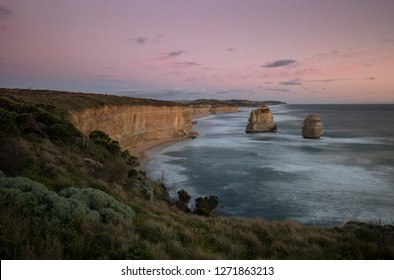 twelve apostles looking east at port campbell on the great ocean road in victoria, australia