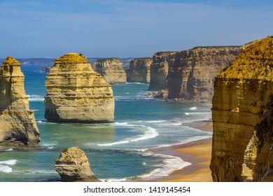 Twelve Apostles Marine National Park. Rock formations. Great Ocean Road, Victoria, Australia