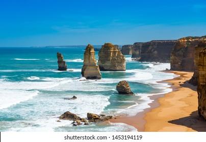 Twelve Apostles Marine National Park, Victoria, Australia. Copy space for text