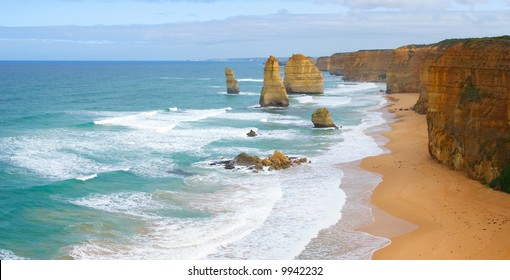 The Twelve Apostles on the Great Ocean Road in Victoria, Australia (high resolution panorama)