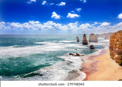 Twelve Apostles and orange cliffs along the Great Ocean Road in Australia