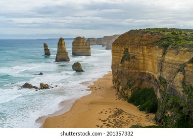 The twelve apostles rock formation along the Great Ocean Rock.  One of Australia's famous natural landmarks.