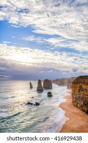 The Twelve Apostles rock formation off the shore of the Port Campbell National Park, by the Great Ocean Road in Victoria, Australia.