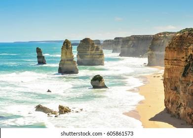 Twelve Apostles rock formations, Great Ocean Road, Victoria, Australia. Landmark for traveler.