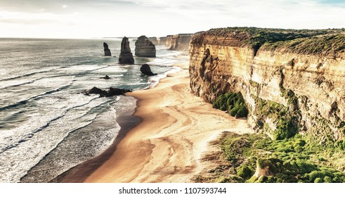 The Twelve Apostles Rocks on the ocean, Great Ocean Road at sunset, Victoria, Australia.