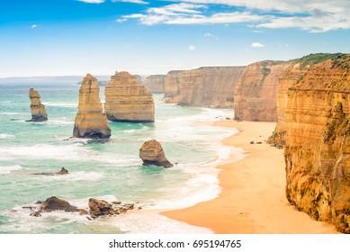 Twelve Apostles scenic coastal view at Castle Rock in pacific ocean in Victoria, Australia