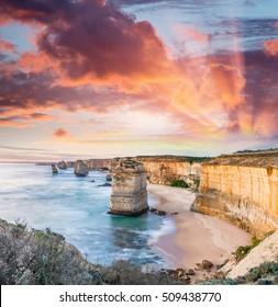 Twelve Apostles at sunrise, amazing natural landscape of Great Ocean Road, Australia.
