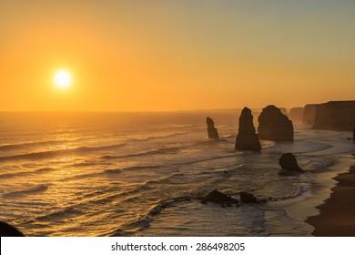 twelve apostles at the sunset, port Campbell, victoria, Australia