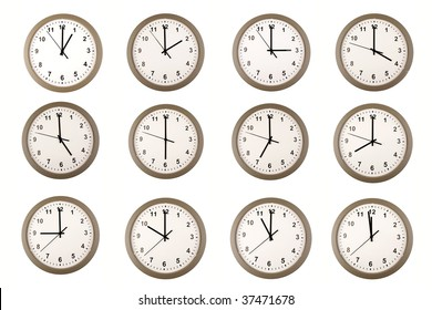 Twelve clocks over white background