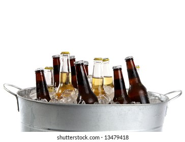 twelve cold beers in a metal bucket