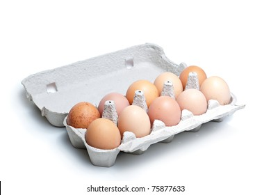 Twelve (dozen) brown eggs in a carton package