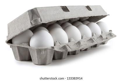 Twelve eggs in a carton package