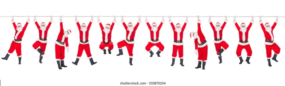 Twelve funny Christmas Santa Clauses on the rope - Xmas or New Year's concept for 12 months calendar or site header.