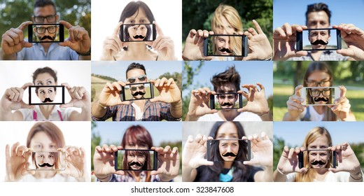 twelve pictures of guys taking a selfie with fake mustache