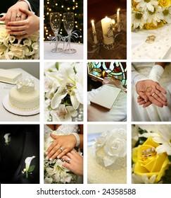 twelve small wedding images ideal for website design