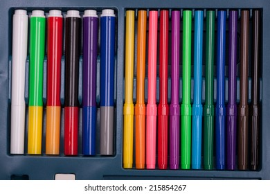 Twelve thin and thick six colored markers