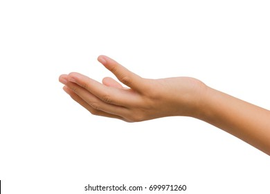 twelve year old asian young girl open hand palm up isolated on white background. Clipping path. giving concept.