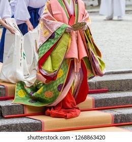 Twelve-layered ceremonial kimono, kyoto, japan