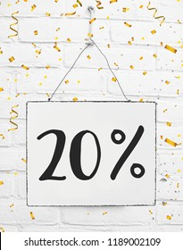 Twenty 20 % percent off black friday sale 20% discount golden party confetti banner billboard