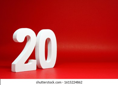Twenty ( 20 ) Percentage Isolated Red  Background with Copy Space - Discount 20% off Safe Price Business finance promotion Concept