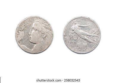 Twenty Centesimi Coin from Italy dated 1920. The Lira was the currency of Italy until the adoption of the Euro. The Centesimi was on hundredth of a Lira.