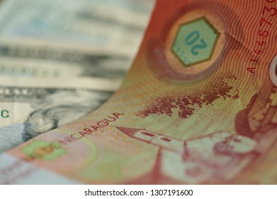 Twenty cordobas banknote of nicaragua country close up view