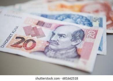 Twenty Croatian national Kuna paper currency.Close up shot of Dalmatia region banknotes. 20 Hrvatska Kuna cash money