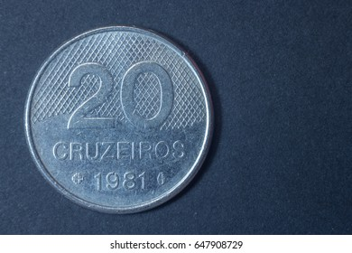 Twenty cruzeiros 1981 Brazil tail coin, vintage antique old, difficult and rare to find.