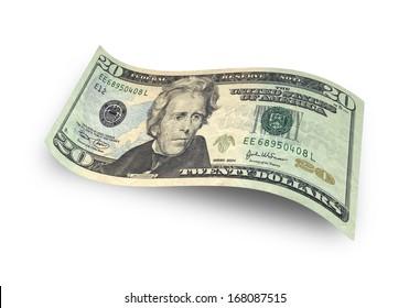Twenty dollar banknote isolated on white background