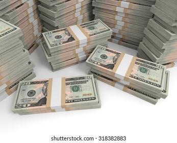 Twenty dollar banknotes background. 3D illustration.