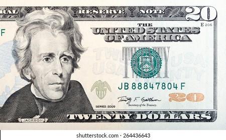 Twenty dollar bill - American money.