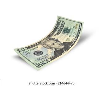 Twenty dollars banknote isolated on white background