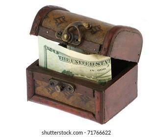 Twenty dollars banknote in old casket