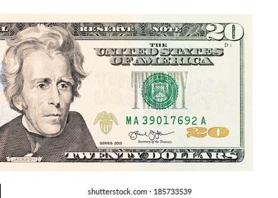 The twenty dollars isolated on white background
