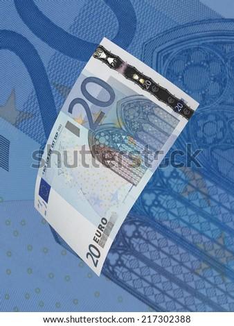 twenty euro bills collage blue tone stock photo edit now 217302388