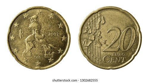 Twenty euro cents coin isolated on white
