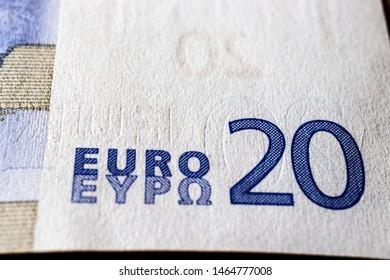 Twenty euro. European currency. Money as background. Macro.